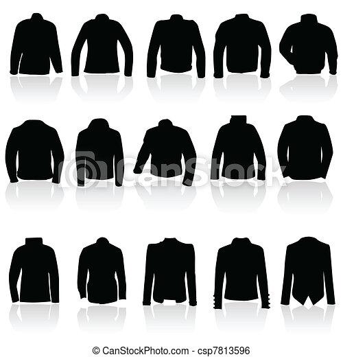 Chaqueta para hombres y mujeres en silueta negra - csp7813596