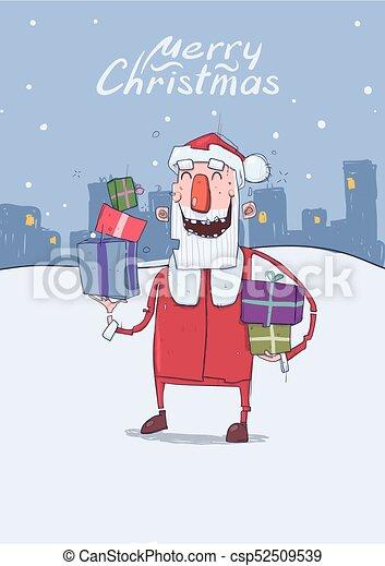 La tarjeta de Navidad del gracioso Santa Claus sonriendo. Santa Claus lleva regalos en cajas coloridas en el fondo nevado de la ciudad. Ilustración vertical de vectores. Personaje de dibujos animados. Lettering. Copia espacio. - csp52509539