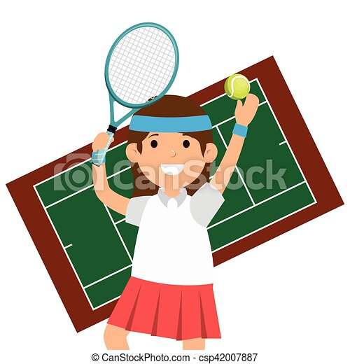 character girl tennis racket court vector illustration eps vector rh canstockphoto com tennis court clipart black and white
