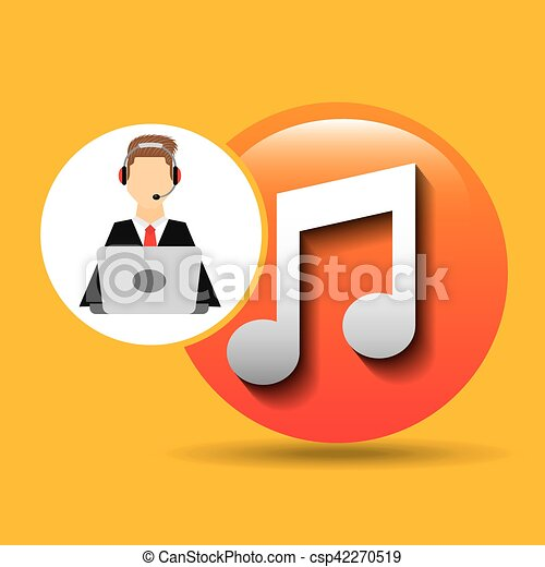 Character Man Headphones Computer With Music Symbol Icon Vector