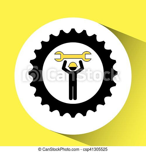 character man worker construction and gears with wrench icon - csp41305525