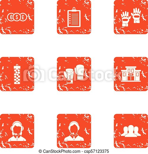 Character money icons set, grunge style - csp57123375