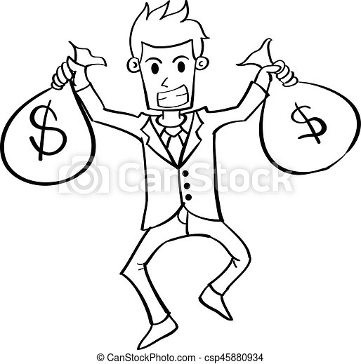 Character of businessman with money - csp45880934