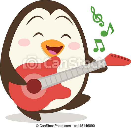 Character of penguin with guitar - csp45146890