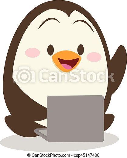 Character penguin with laptop vector - csp45147400