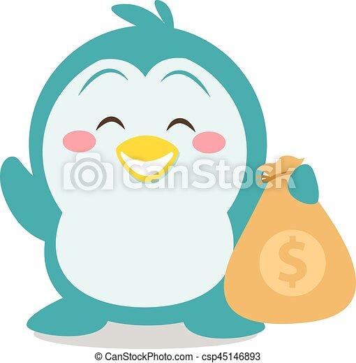 Character penguin with money vector - csp45146893