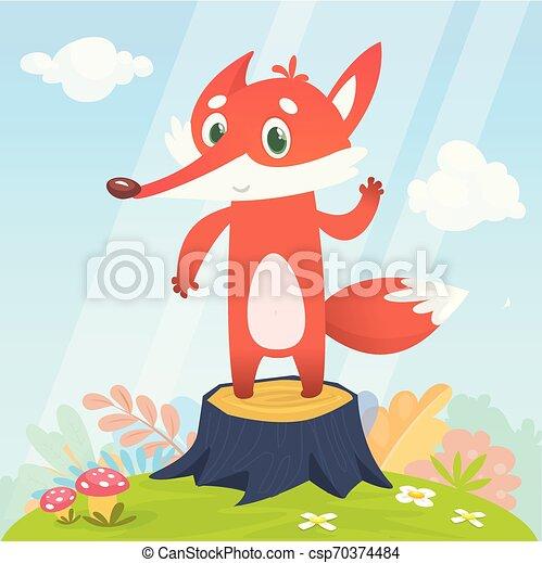 character., renard, illustration, vecteur, dessin animé, heureux - csp70374484
