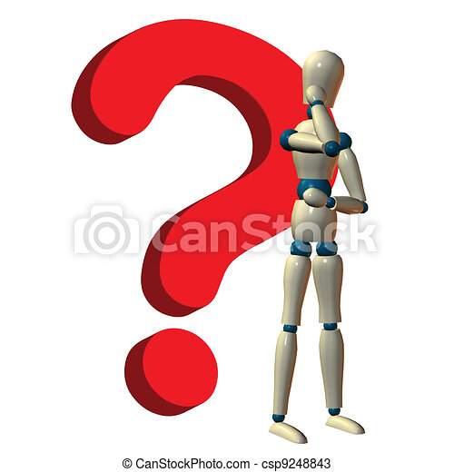Character thinking answer to a question - csp9248843