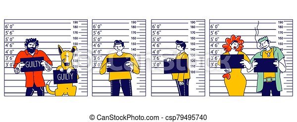 Characters Criminal Mugshot Front, Side View on Measuring Scale Background in Police Station. Arrested Men, Woman and Dog with Board Posing for Identification Photo. Linear People Vector Illustration - csp79495740