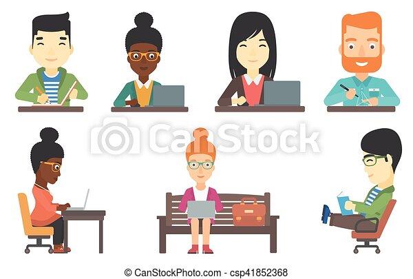 characters., vecteur, ensemble, business - csp41852368