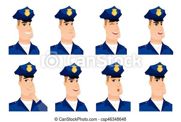characters., vecteur, ensemble, policier - csp46348648