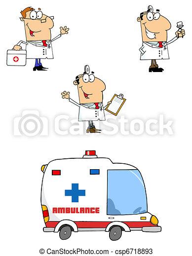 Los doctores dibujan personajes de dibujos animados - csp6718893
