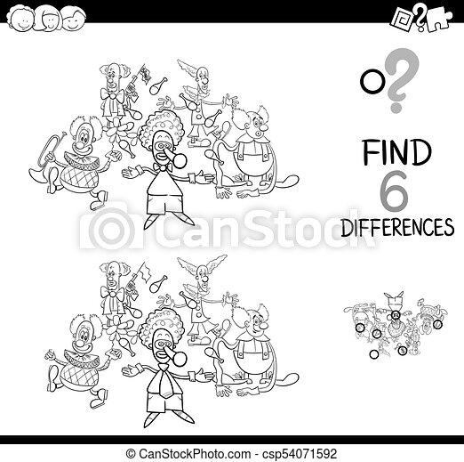 Charaktere, unterschiede, färbung, spiel, clown.... EPS Vektoren ...