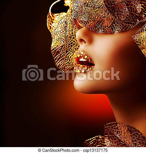 charakteryzacja, luksus, profesjonalny, makeup., święto, złoty, piękny - csp13137175