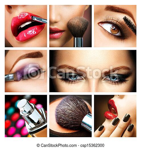 charakteryzacja, profesjonalny, details., makijaż, collage., makeover - csp15362300
