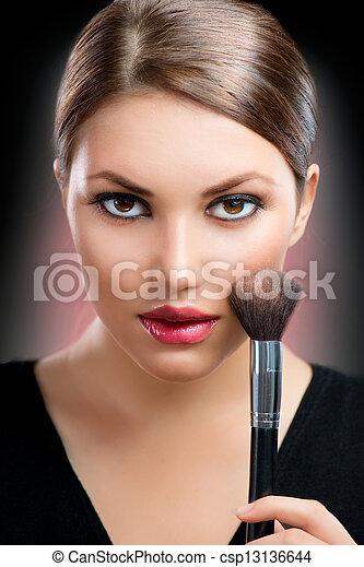 charakteryzacja, twarz, makeup. - csp13136644