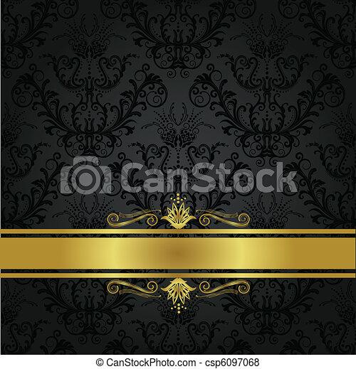 charbon de bois, couverture livre, luxe, or - csp6097068