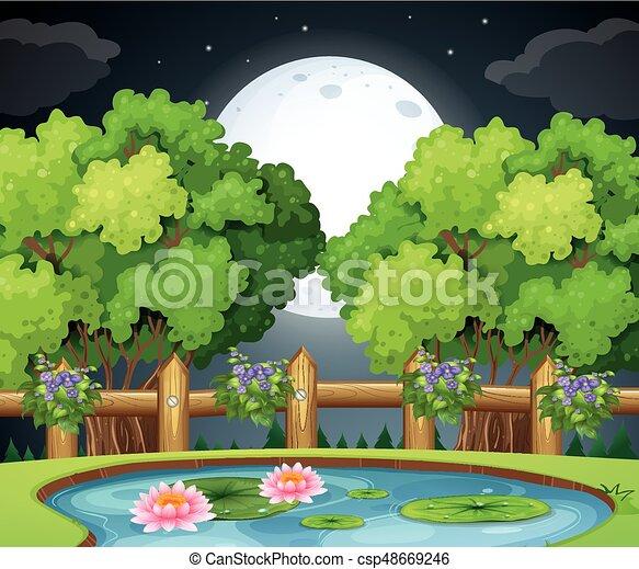 La escena del estanque por la noche - csp48669246