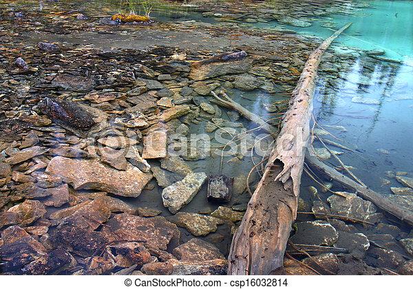 El estanque del parque nacional Yoho - csp16032814