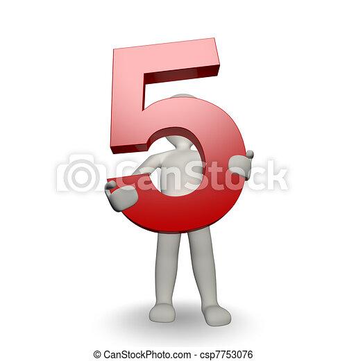 charcter, besitz, zählen fünf, menschliche , 3d - csp7753076