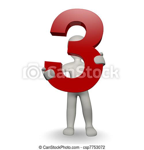 charcter, human, três, número, segurando, 3d - csp7753072