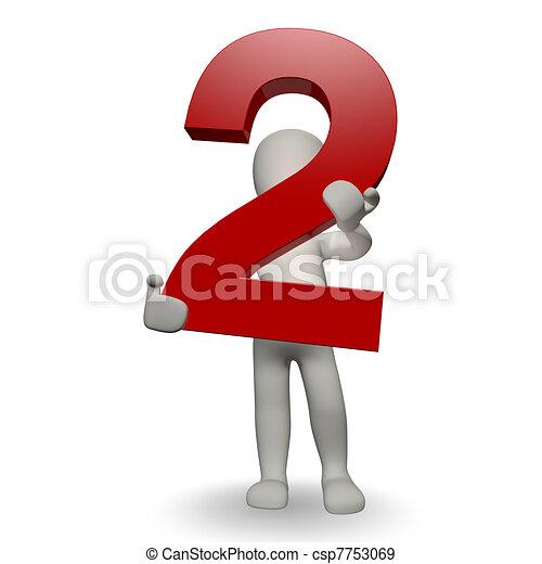 charcter, humano, dos, número, tenencia, 3d - csp7753069