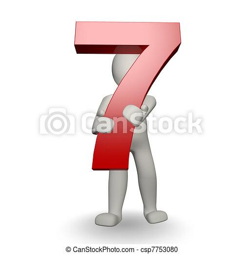 charcter, siete, tenencia, número, humano, 3d - csp7753080