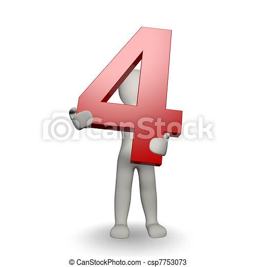 charcter, tenue, numéro quatre, humain, 3d - csp7753073