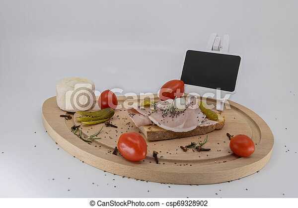 charcuterie, plaque, espace, bois, texte, francais, vide, fromage - csp69328902