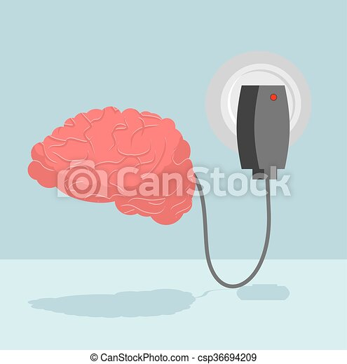 Charge brain. Charger for cerebrum. marrow is charged with new ideas and thoughts. Energizes battery Central Authority of human nervous system - csp36694209
