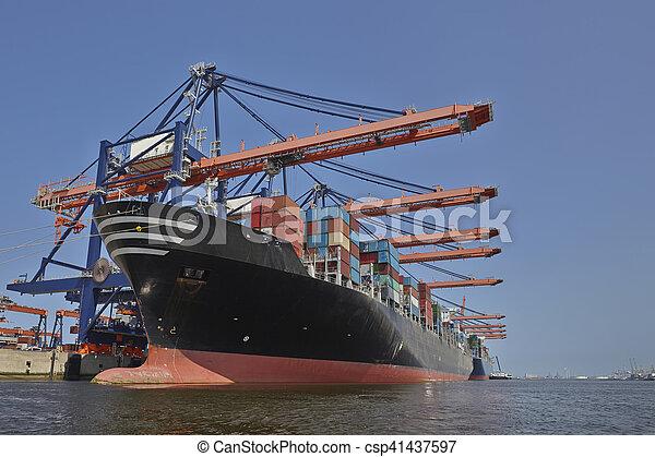 chargement, fret, sous, bateau, rotterdam, port - csp41437597