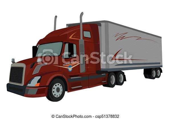 chargeur, camion, vecteur, semi, illustration - csp51378832