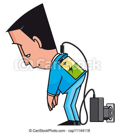 Isolated illustration charging businessman with low battery.
