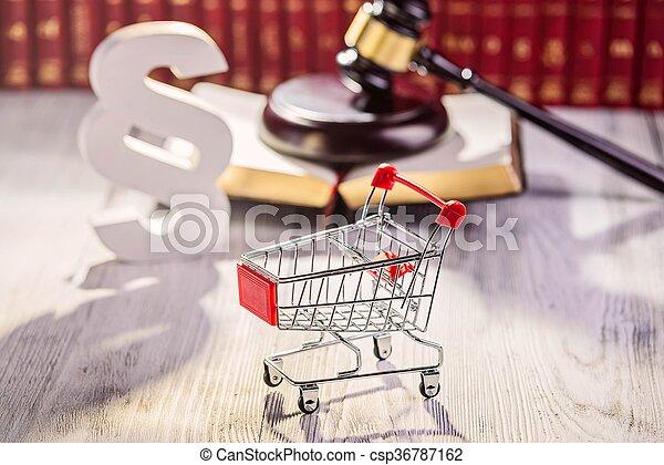 chariot, peu, pushcart, -, symboles, droit & loi - csp36787162
