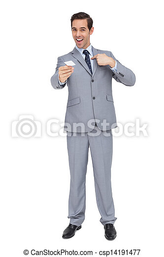 Charismatic businessman showing his business card - csp14191477