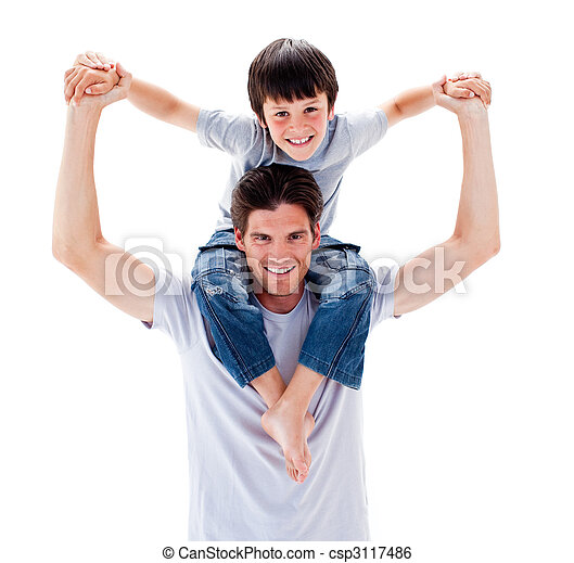 Charismatic father giving his son piggyback ride - csp3117486