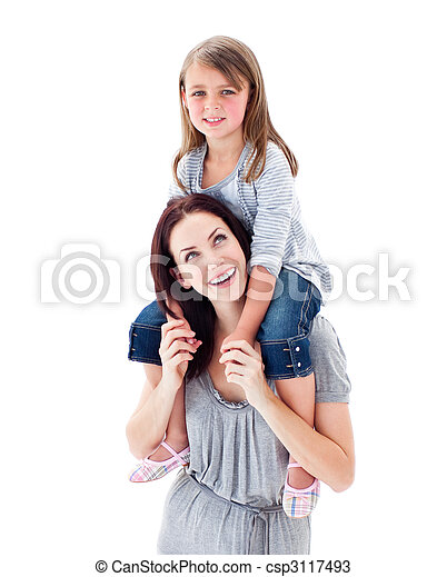 Charismatic mother giving her daughter piggyback ride - csp3117493