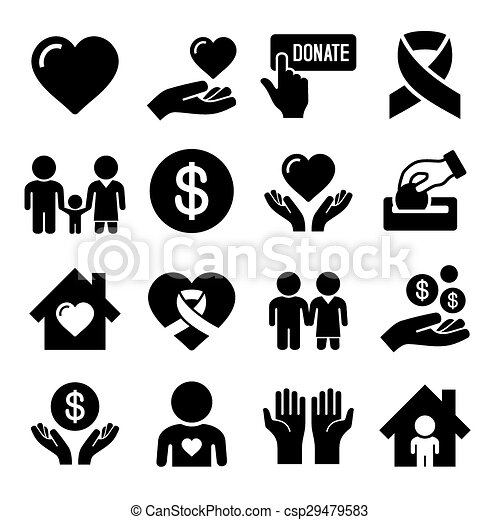 Charity and Care Icons Set - csp29479583