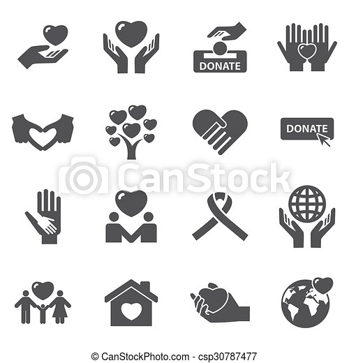 Charity and love icons - csp30787477