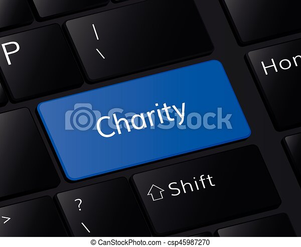 Charity button on keyboard. Charity concept . Charity illustration - csp45987270