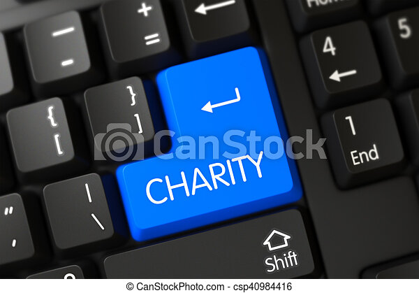 Charity Close Up of Blue Keyboard Keypad. 3D. - csp40984416