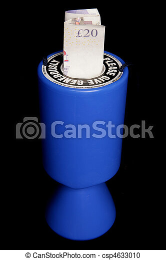 Charity collection tin with twenty pounds - csp4633010