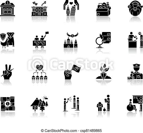 Charity drop shadow black glyph icons set - csp81489865