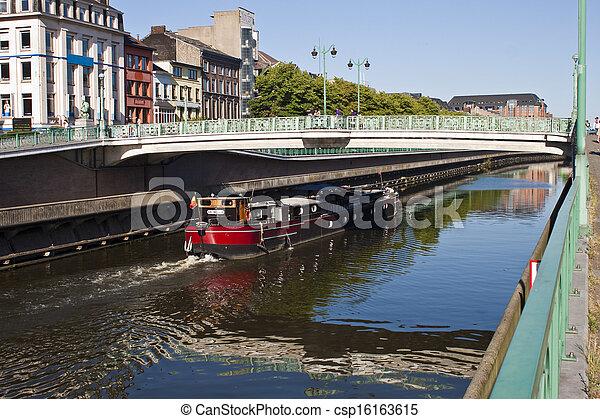 Charleroi-Brussels canal in Charleroi, Belgium - csp16163615