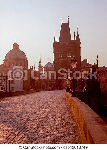 Charles Bridge at sunrise, Prague - csp42613749