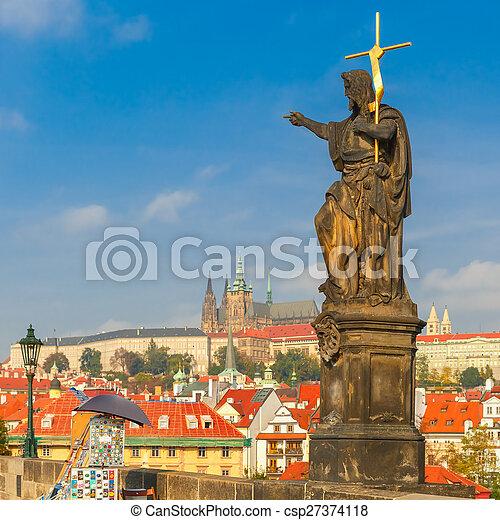 Charles Bridge in Prague, Czech Republic. - csp27374118