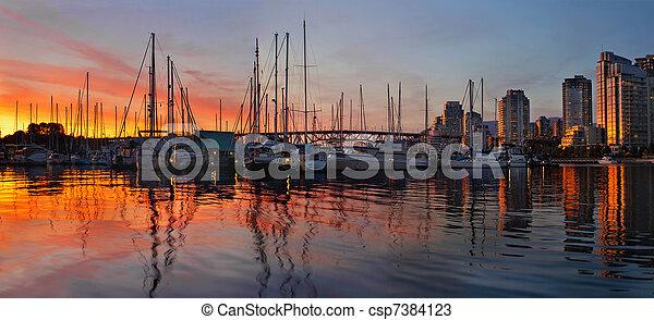 charleson, bc州, 公園, 日没, バンクーバー, 光景 - csp7384123
