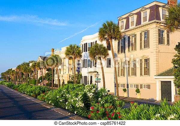 Charleston, South Carolina, USA homes along The Battery - csp85761422