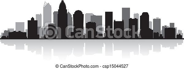 Charlotte city skyline silhouette - csp15044527