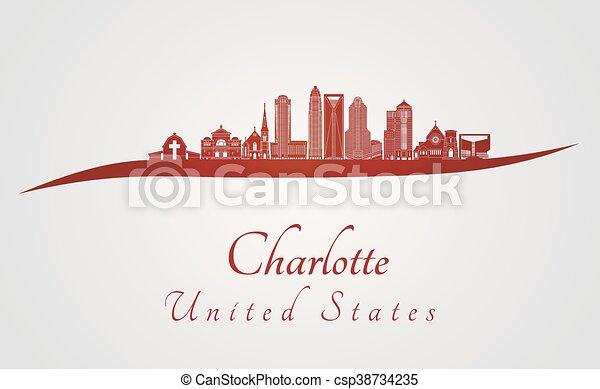 Charlotte Skyline en rojo - csp38734235